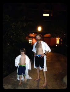 New matching suits just in time for their night swim!