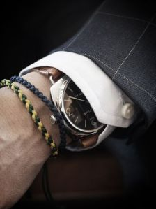 Dressy shirt, nice watch, rope bracelets. Stylish can come in many different forms. meandmybentley.tumblr.com
